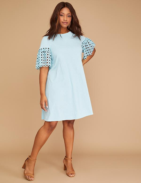 Crochet-Sleeve Swing Dress