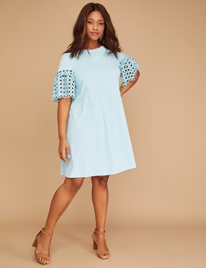 Crochet-Sleeve Swing Dress