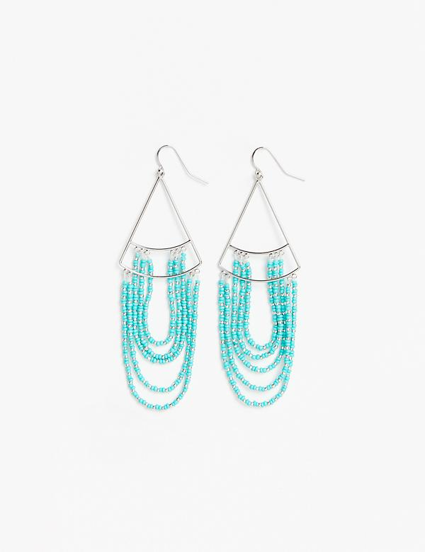 Geo Drop Earrings with Hanging Beads