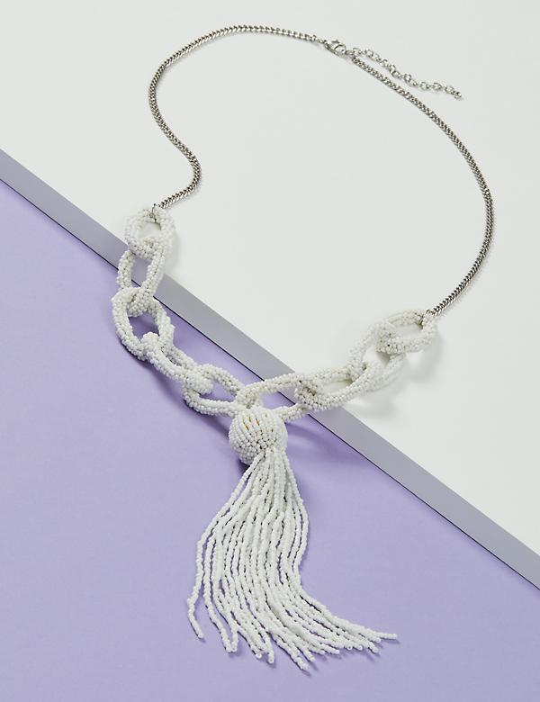 Seedbead Link Tassel Lariat Necklace