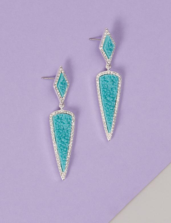 Pave & Faux Druzy Dagger Drop Earrings