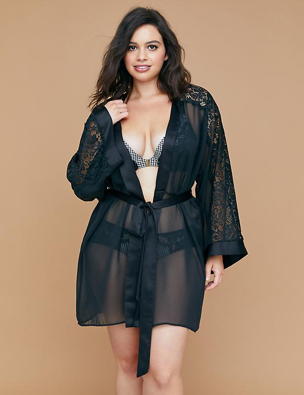 Chiffon Robe with Lace Sleeve