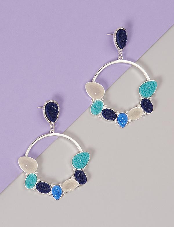 Faux Druzy Circle Drop Earrings