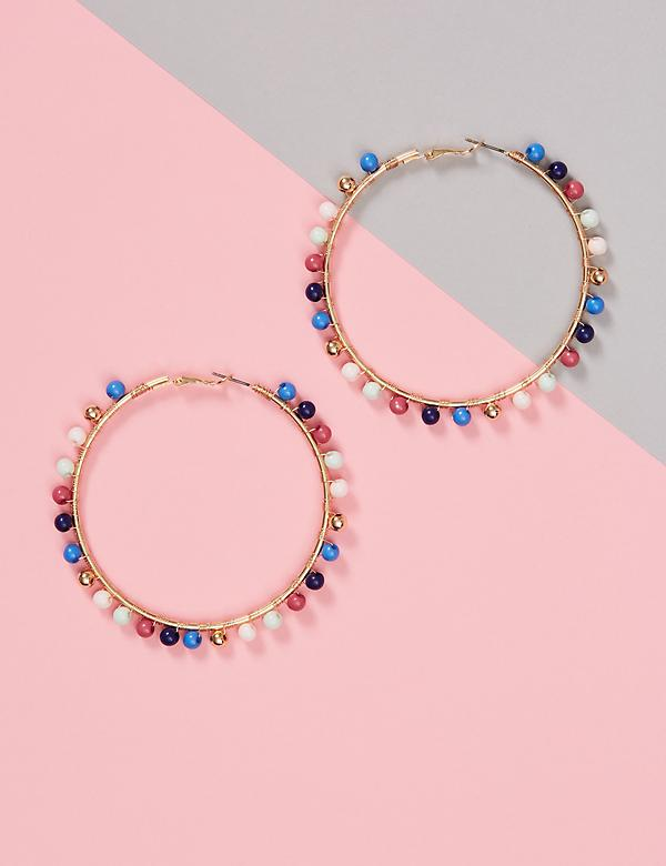 Mullti-Beaded Thin Hoop Earrings