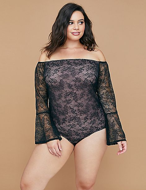 Lace Off-the-Shoulder No-Wire Bodysuit