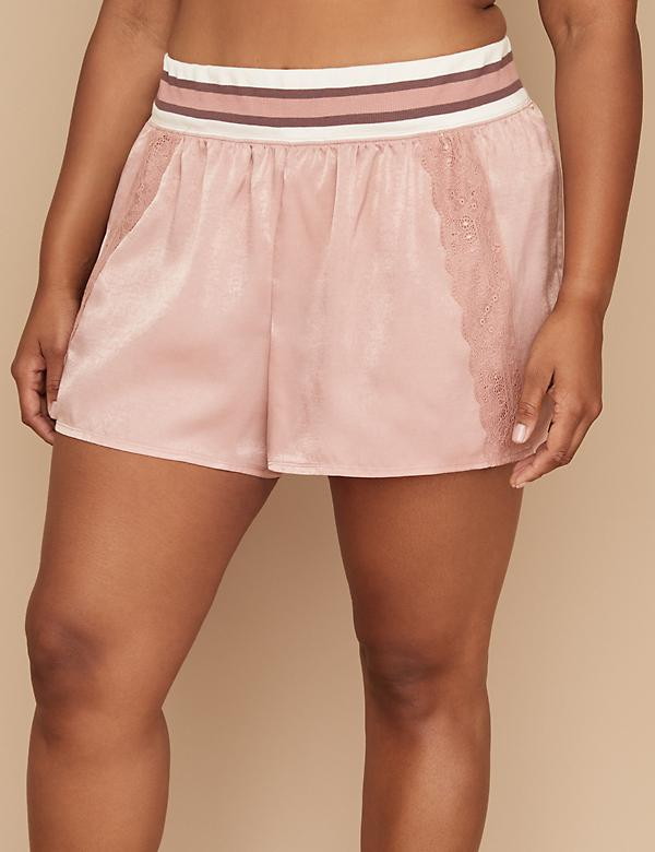 Striped Trim Hammered Satin Sleep Short