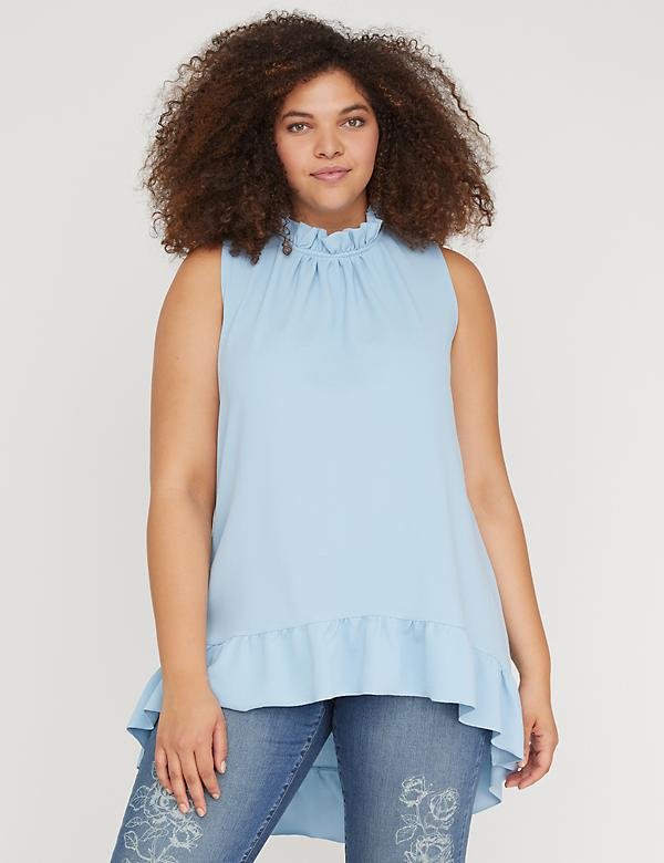High-Low Sleeveless Ruffle Top