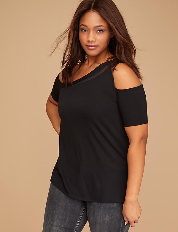 One-Shoulder Top with Mesh