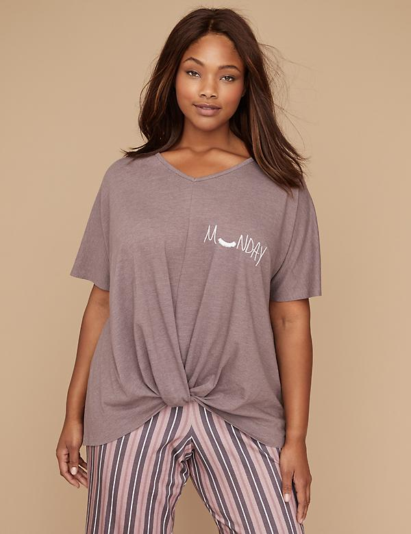 Knot-Front Graphic Sleep Tee