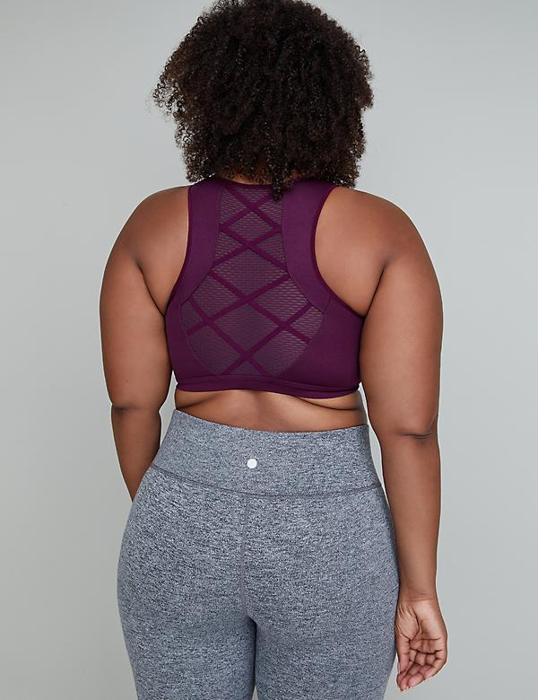 Low Impact Wicking High-Neck Sport Bra - Mesh & Strappy Back