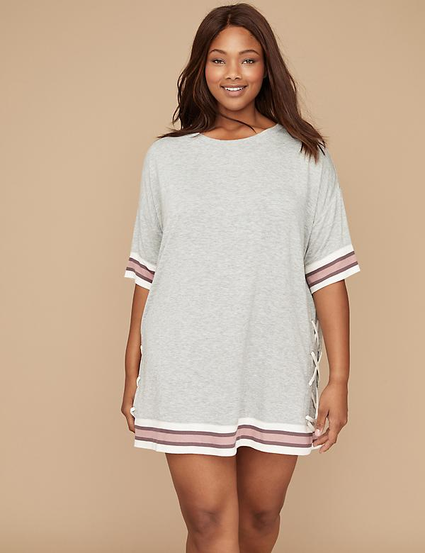 Lace-Up French Terry Sleepshirt