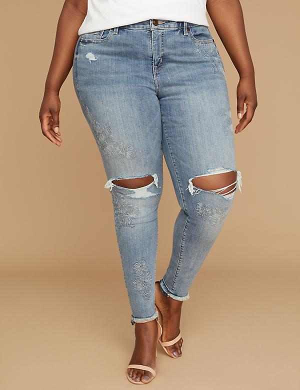 Power Pockets Super Stretch Skinny Jean - Embroidered