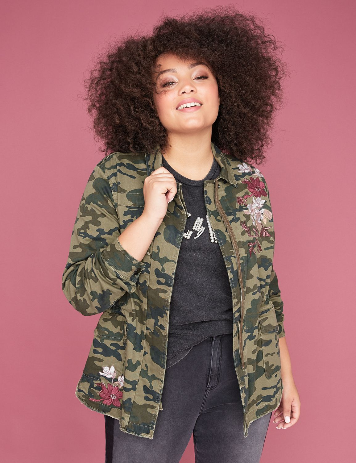 Petite Floral Embroidered Camo Twill Jacket