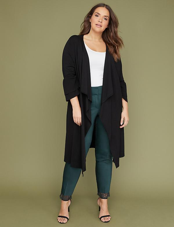 Tiered Ruffle Sleeve Duster Cardigan