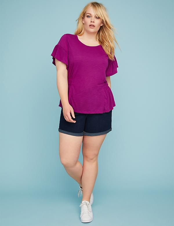 Side-Ruched Ruffle-Sleeve Tee