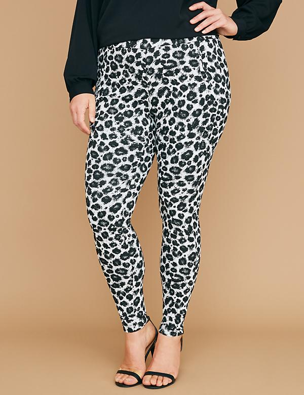 Allie Smart Stretch Skinny Pant - Pull-On Leopard
