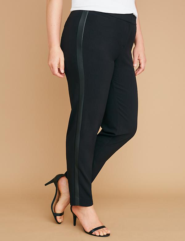 Allie Tailored Stretch Ankle Pant - Faux Leather Side Stripe