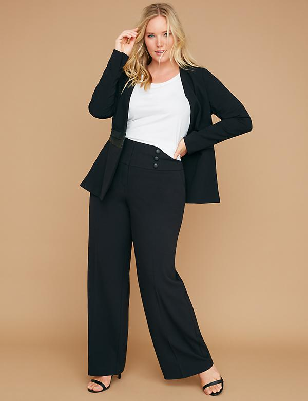 Allie Tailored Stretch Wide Leg Pant - Faux Leather Buttons