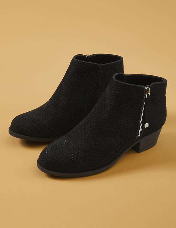 Faux Suede Perforated Ankle Boot