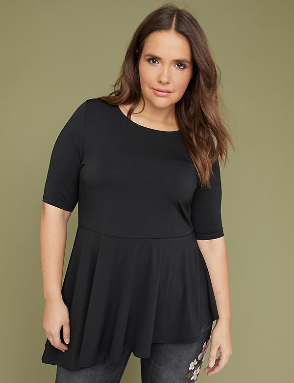 Built-In Shapewear Extreme Asymmetrical Peplum Top