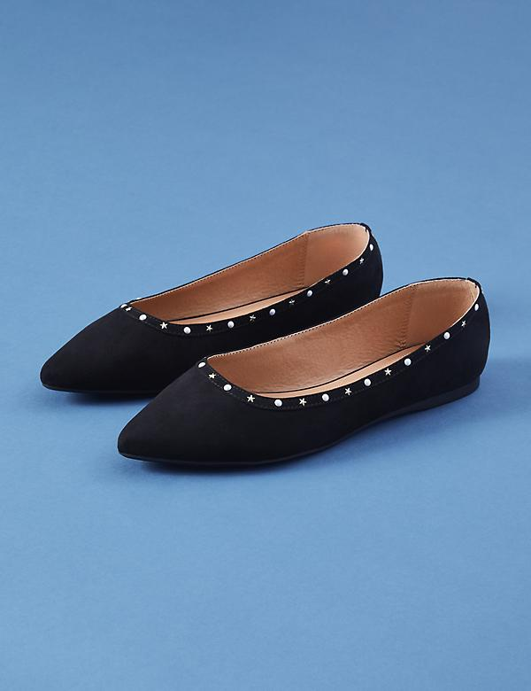 Pearl & Star Studded Pointed-Toe Flat