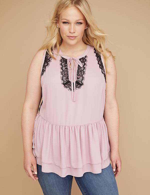Lace-Trim Peplum Shell