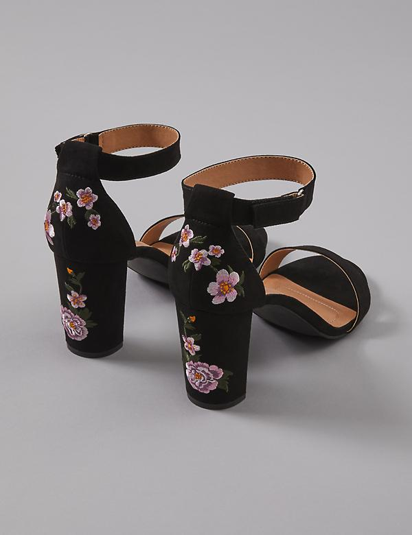 Floral Embroidered Block Heel Sandal
