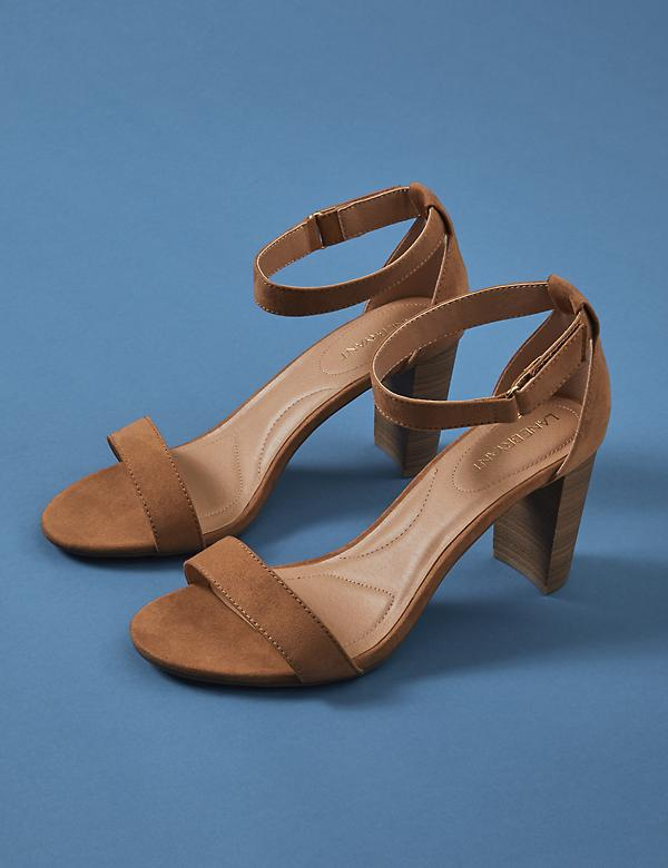 Faux Suede & Wood Block Heel Sandal