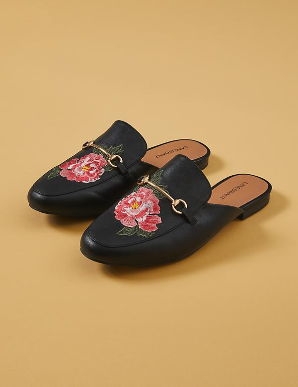 Floral Embroidered Faux Leather Mule
