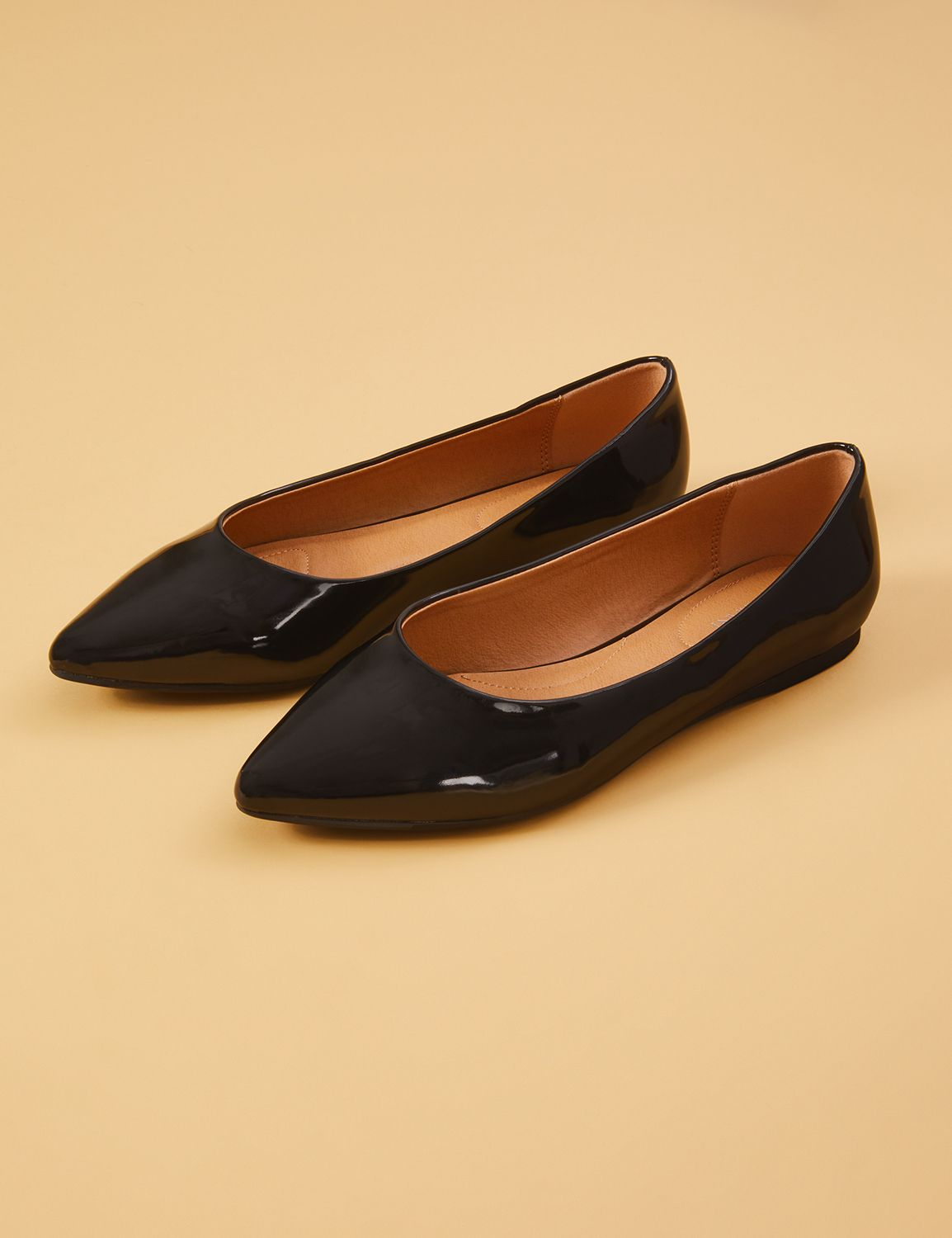 Retro Vintage Flats and Low Heel Shoes Lane Bryant Womens Faux Patent Leather Pointed-Toe Flat 12W Black $39.95 AT vintagedancer.com