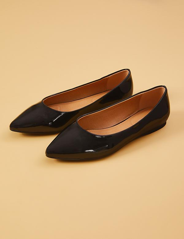 Faux Patent Leather Pointed-Toe Flat