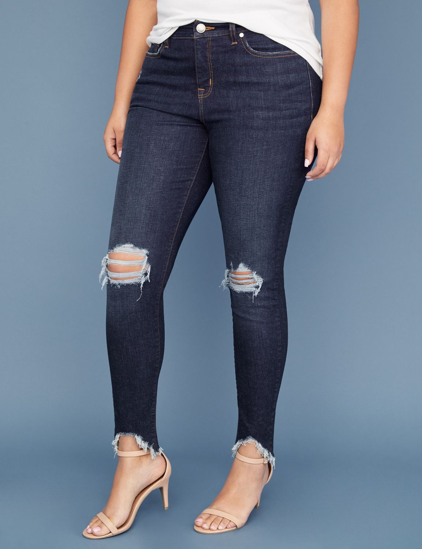 Power Pockets Super Stretch Skinny Jean - Chewed Hem