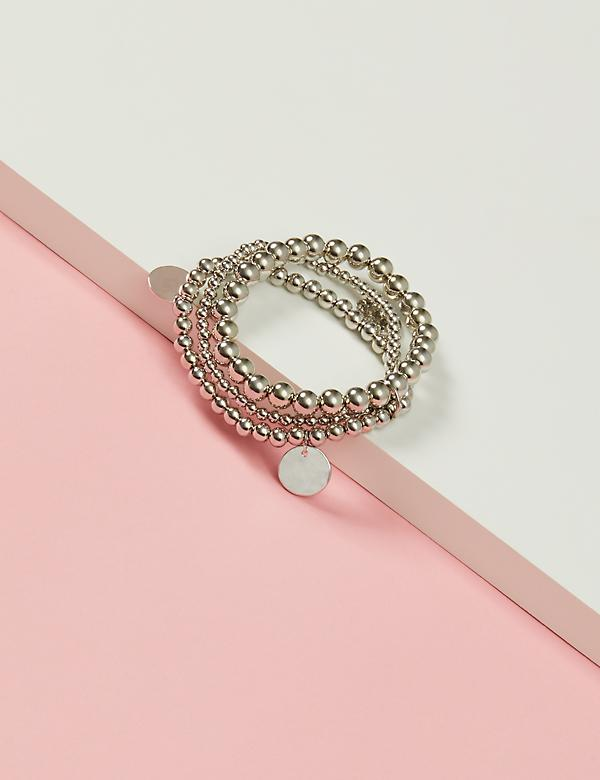 3-Row Metal Ball Stretch Bracelet