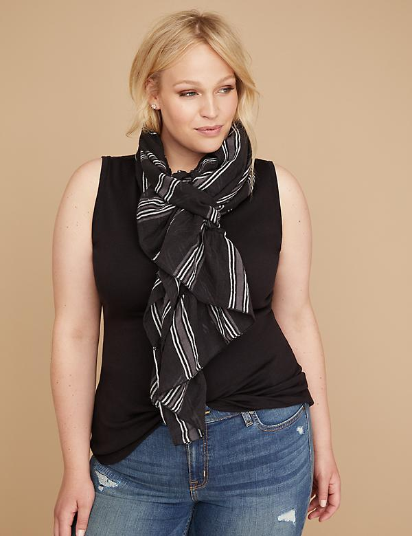 Striped Ruffle 2-in-1 Vest & Scarf