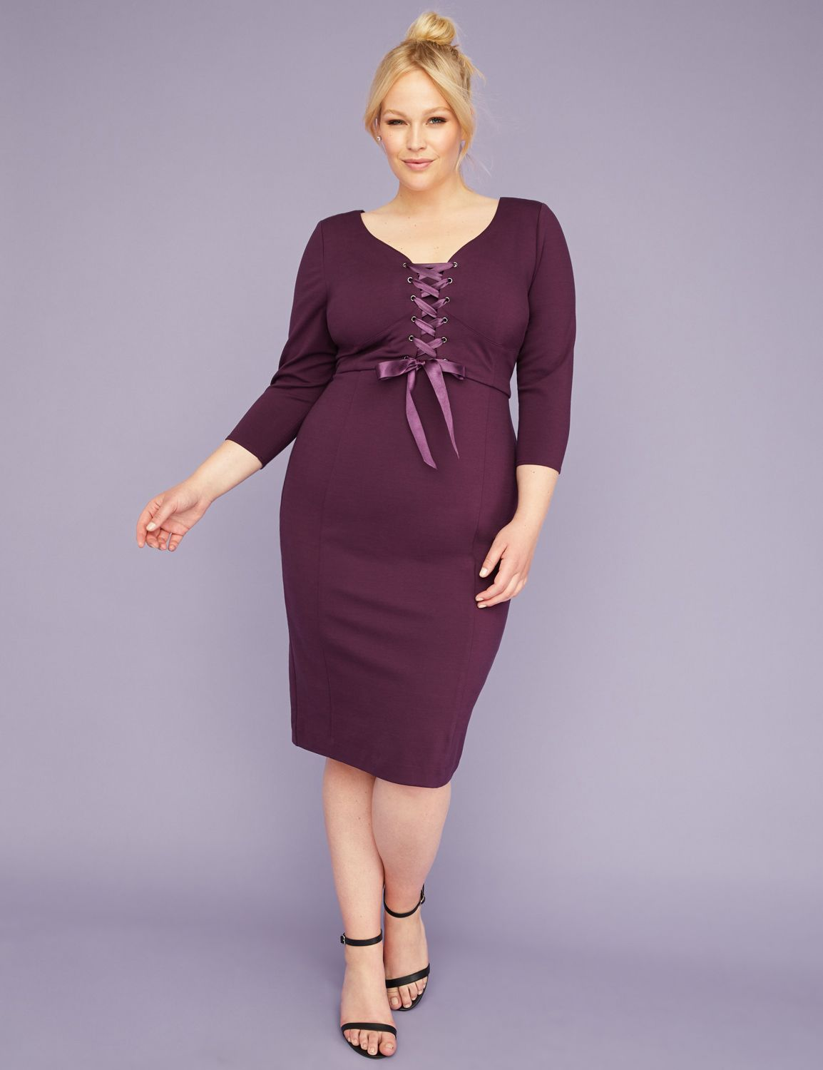 60s 70s Plus Size Dresses, Clothing, Costumes Lane Bryant Womens 34-Sleeve Corset Sheath Dress 24 Deep Eggplant $99.95 AT vintagedancer.com