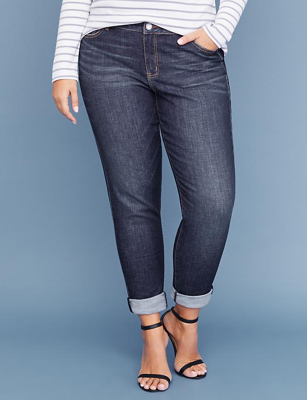 Essential Stretch Girlfriend Crop Jean - Medium Wash
