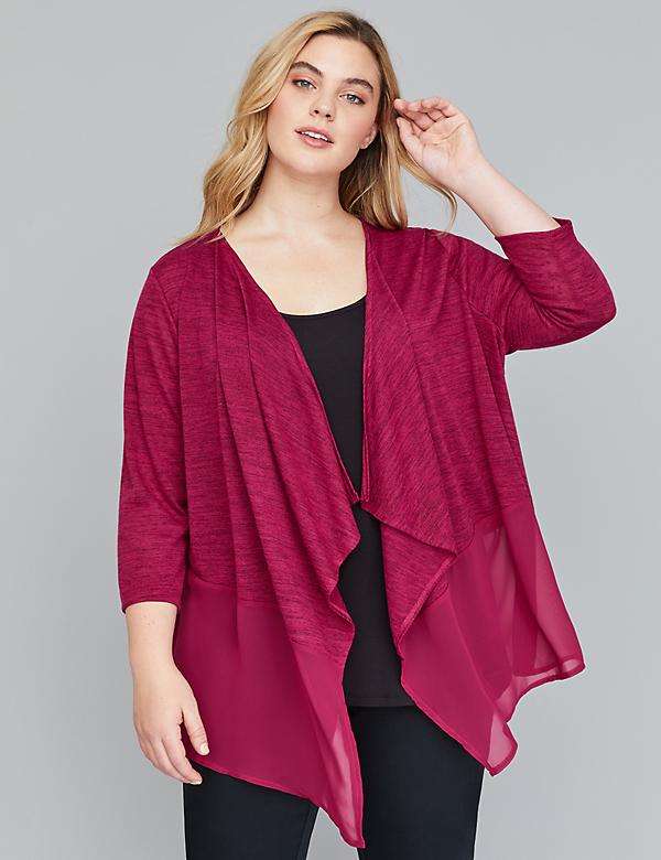Chiffon-Trim Soft Touch Cardigan