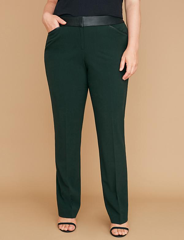 Allie Tailored Stretch Straight Leg Pant - Faux Leather Trim