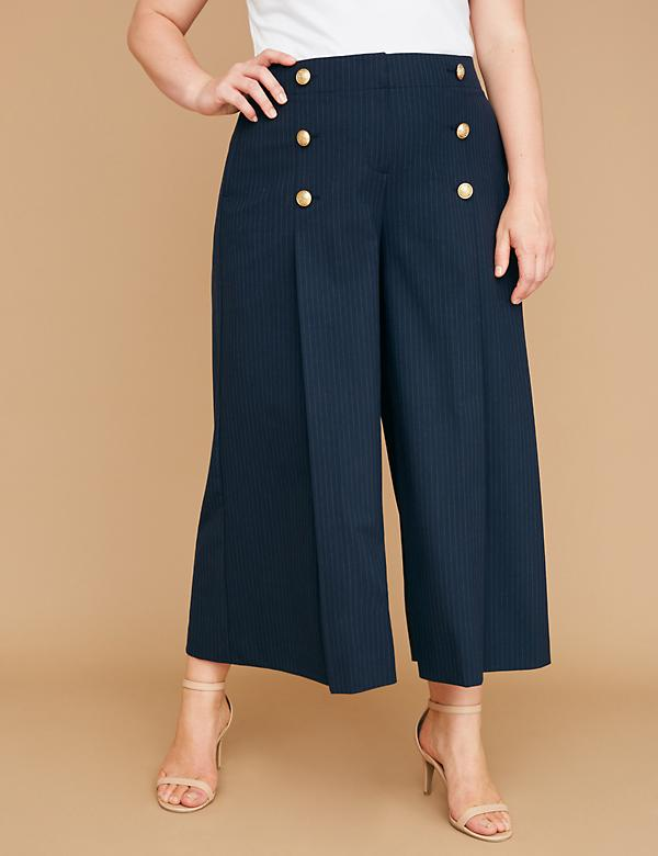Wide Leg Crop - Striped with Buttons