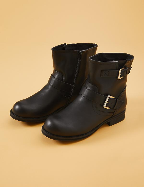 Faux Leather Moto Boot With Buckles