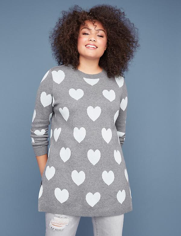 Hearts Graphic Tunic Sweater