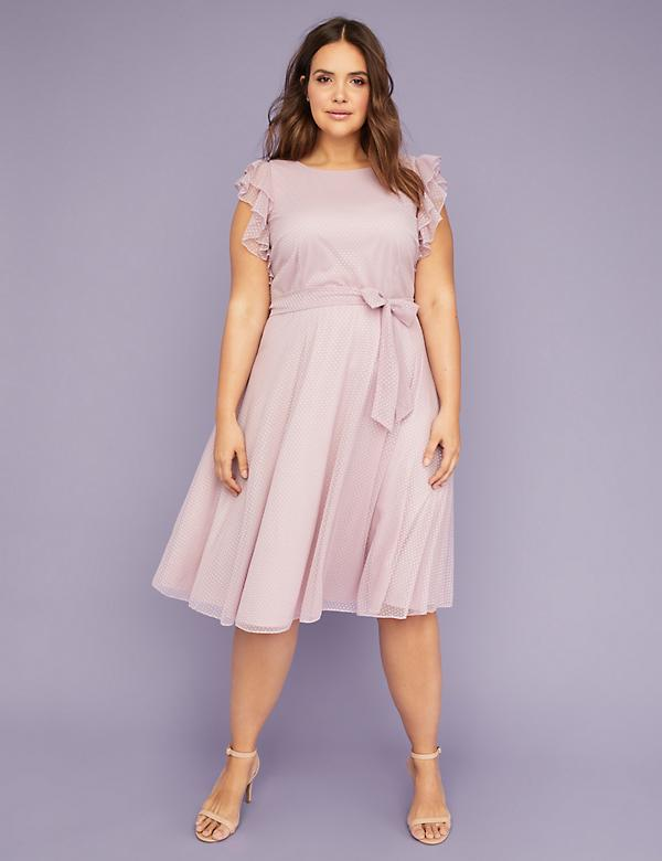 Dot Mesh Flutter Sleeve Fit & Flare Midi Dress