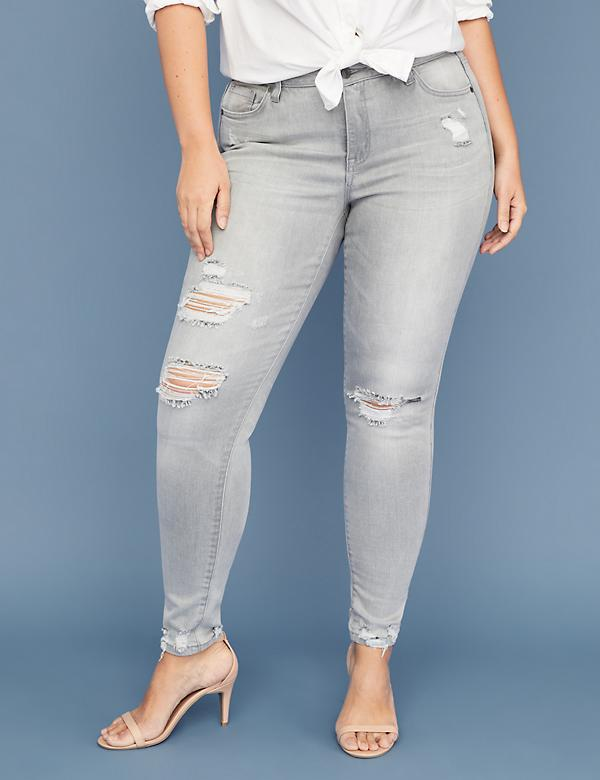 Power Pockets Super Stretch Skinny Jean - Destructed Light Gray