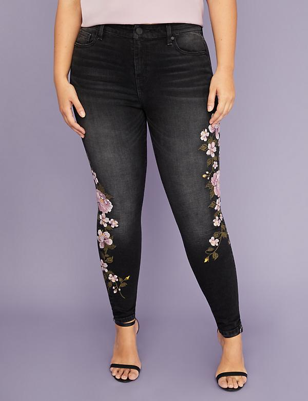 Super Stretch Skinny Jean - Purple Floral Embroidery