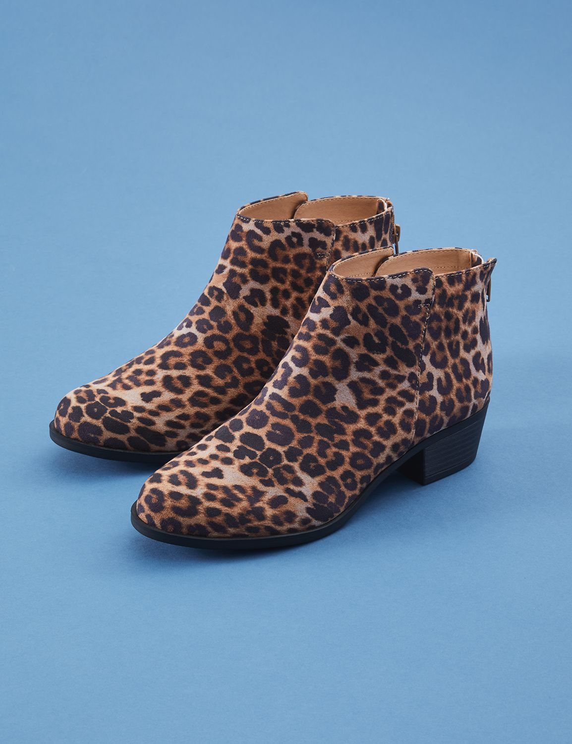 Retro Boots, Granny Boots, 70s Boots Lane Bryant Womens Leopard Low Heel Bootie 12W Animal Ombre $64.95 AT vintagedancer.com