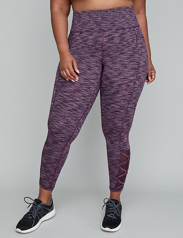 Wicking Active 7/8 Legging - Spacedye with Strappy Mesh Detail