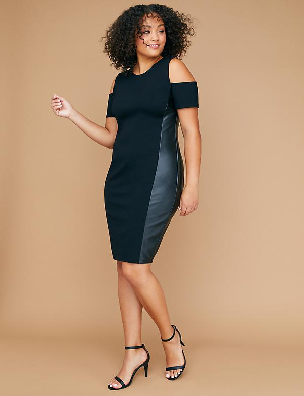Faux Leather Panel Cold-Shoulder Sheath Dress