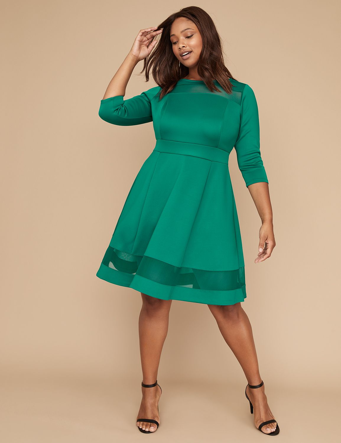 Plus Size Swing Dresses, Vintage Dresses Lane Bryant Womens 34 Sleeve Scuba Fit  Flare Dress With Mesh 2224P Everglade $89.95 AT vintagedancer.com