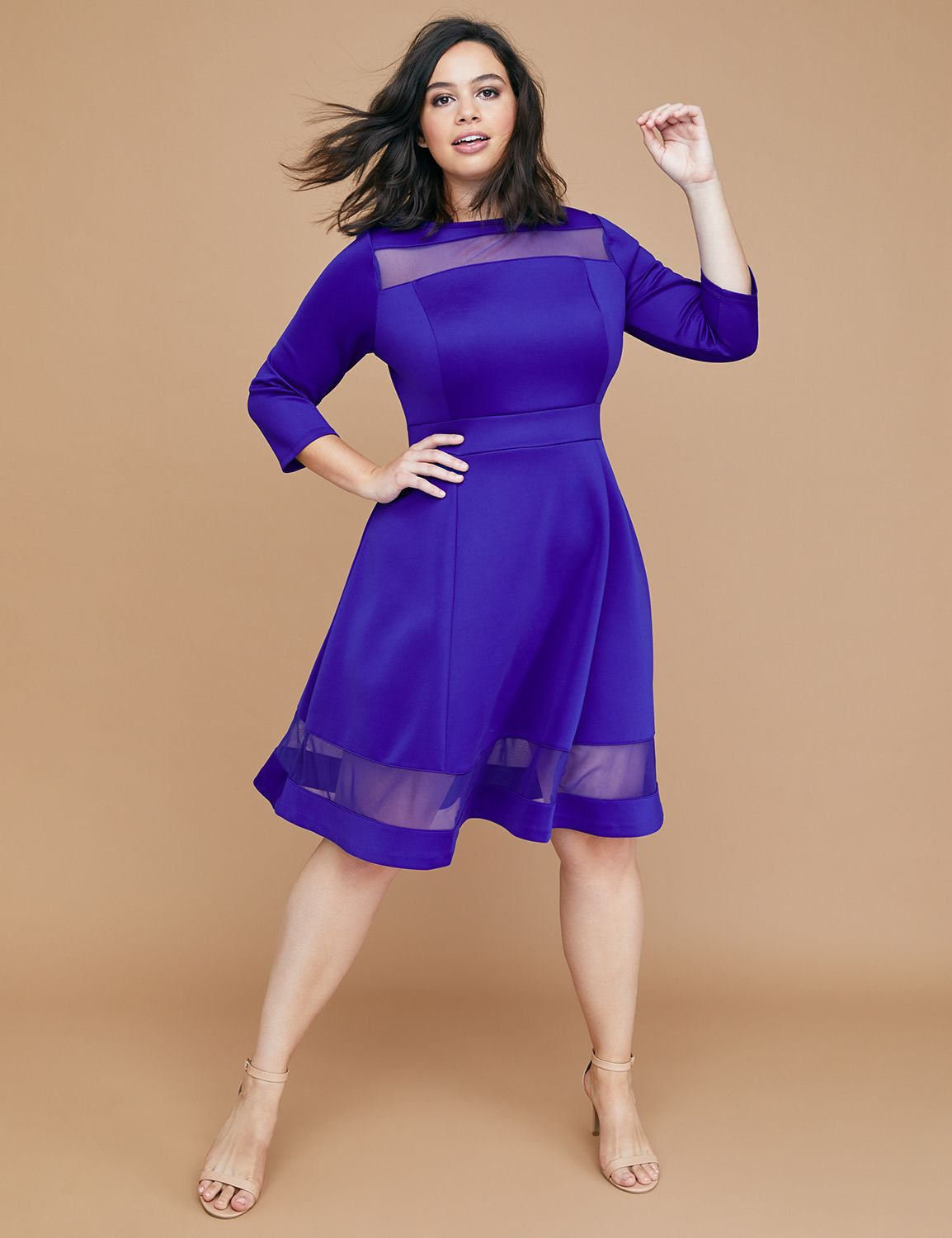 Petite 3/4 Sleeve Scuba Fit & Flare Dress with Mesh