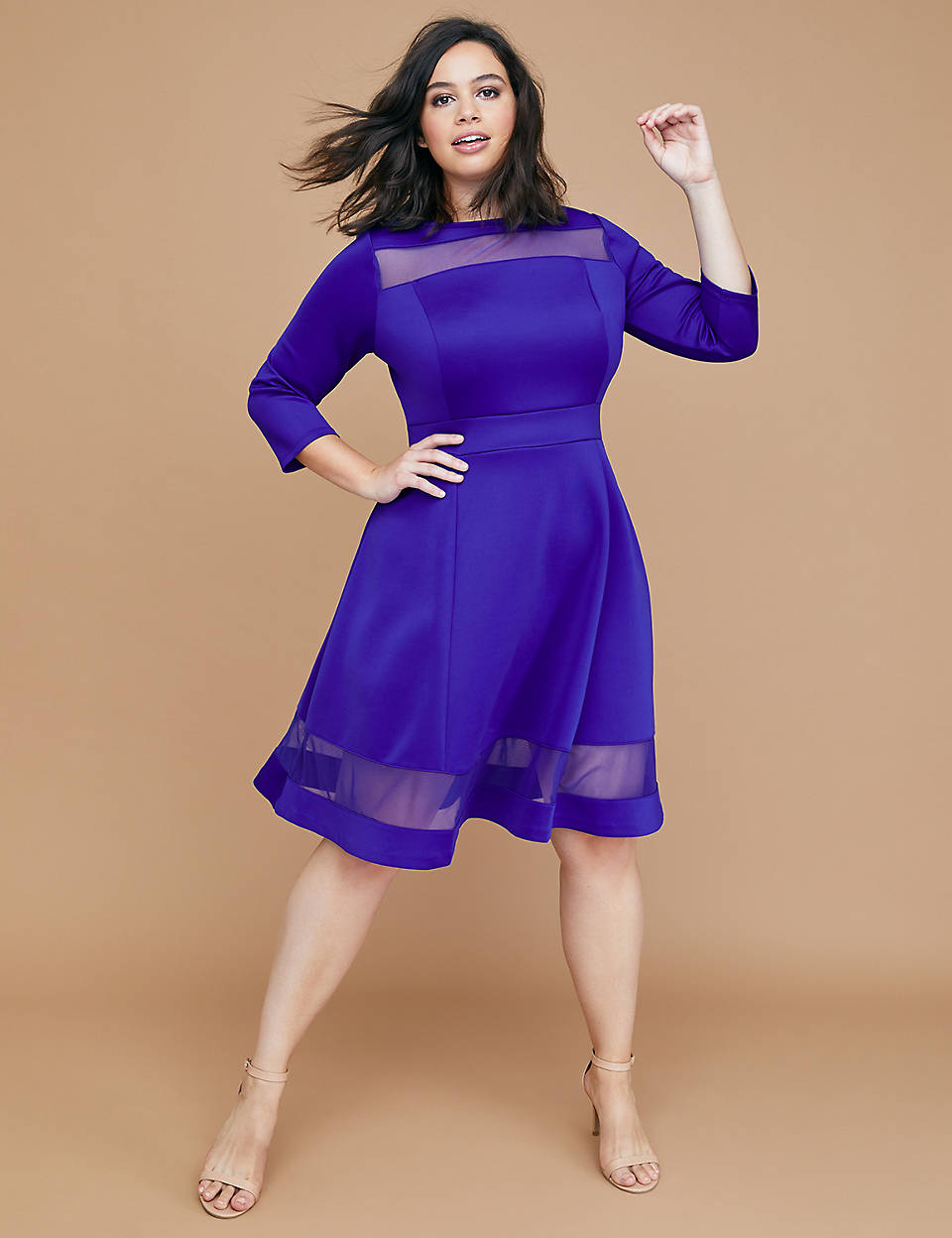 a754eb57475c97 3 4 Sleeve Scuba Fit   Flare Dress with Mesh